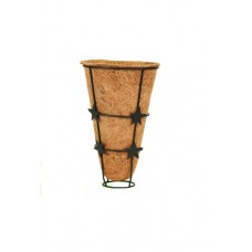"COCO FIBER  PLANTER POT 6"" W x 10""H CONICAL WITH METAL FRAME"