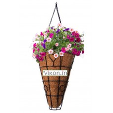 "COCO FIBER CONICAL HANGING PLANTER POT 9""Wx13""H"
