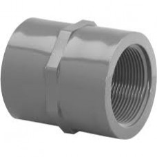 "PVC CONNECTOR WITH 1.25"" FEMALE X 1.25"" SLIP SOCKETS"