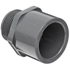 "PVC CONNECTOR WITH 1/2"" MALE X 1/2"" SLIP SOCKETS"
