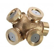 "BRASS FOUR HEAD SPRAYER WITH 1/4"" FEMALE INLET AND CONVERTER FOR 3/4"""